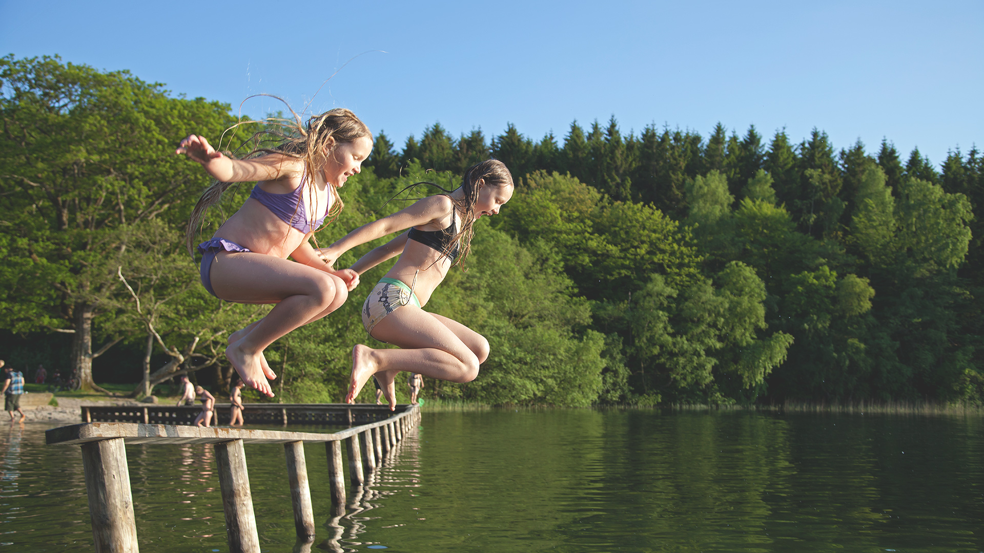 Badebro ved søen i Silkeborg